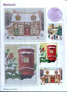 christmas cross stitch british house, mailbox 1 of 2 favorites Cross Stitch House, Xmas Cross Stitch, Cross Stitch Christmas Ornaments, Cross Stitch Cards, Christmas Embroidery, Christmas Cross, Cross Stitching, Cross Stitch Embroidery, Christmas Scenes