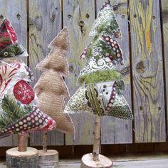Sewn Christmas Tree Decorations Fabric Christmas Trees, Diy Christmas Tree, Christmas Projects, Winter Christmas, Christmas Tree Decorations, Christmas Holidays, Christmas Ornaments, Shabby Chic Christmas, Woodland Christmas