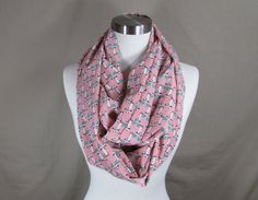 Infinity Scarf in Pink Cat Print Handmade Lightweight Scarf Spring Scarf Summer Scarves