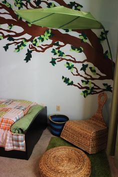 Special Spaces Minneapolis | whimsical nature-inspired boy's bedroom *IKEA Lova leaf canopy