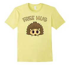 $17.99 Free Hug from cute hedgehog T-shirt Animal big eyes sweet little tiny adorable spiky porcupine hug kisses  hedgehog