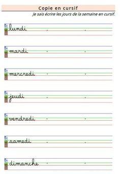 Apprendre à écrire les jours de la semaine GS CP CE1 ULIS CLIS DYS