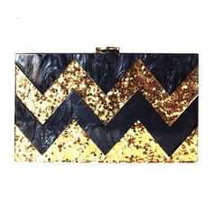 Lauren - Black Gold Chevron Stripe Clutch Bag