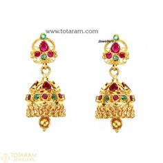 22K Gold Jhumkas - Gold Dangle Earrings with Rubies & Emeralds - 235-GJH627 - Buy this Latest Indian Gold Jewelry Design in 14.150 Grams for a low price of $979.95