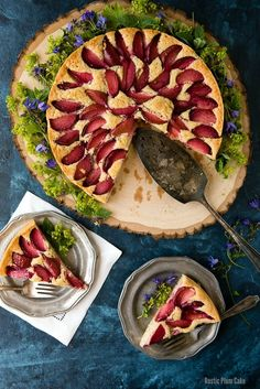 A simple summer recipe for Rustic Plum Cake that is easy to make with fresh plums. Great for summer picnics. Gluten-free or gluten options.