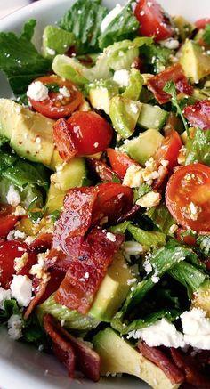 BLT Salad Bowl with Avocado, Cucumber, and Feta