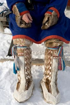 A Forest Nenets man wearing traditional reindeer skin winter boots. Western Siberia, Russia: Russia, Yamal: Arctic & Antarctic photographs, pictures & images from Bryan & Cherry Alexander Photography. Lappland, Ukraine, Folk Costume, Costumes, Ethnic Dress, People Of The World, World Cultures, Traditional Dresses, Winter Boots