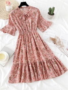 Tidebuy Bow Collar Pullover Floral Print Women's Casual Dress