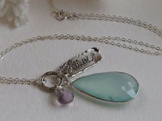 "Aqua Blue Chalcedony Pendant Necklace, ""Believe"" Charm, Blue Gemstone Necklace, Sterling Silver Jewelry"