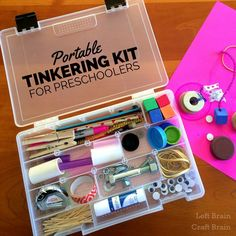 Portable Tinkering Kit for Preschoolers Left Brain Craft Brain FB. Also some excellent book recommendations on tinkering. Craft Activities For Kids, Preschool Activities, Crafts For Kids, Craft Ideas, Stem Preschool, Preschool Rooms, Kindness Activities, Craft Kits For Kids, Preschool Education