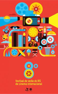 Flyer for a festival - attention grabbing colors and shapes.  Festival de Verão do RS de Cinema Internacional