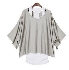 2 in 1 Damen Batwing Longshirt + Tunika T-Shirt Bluse Shirt Tops Tank Casual Look Fashion, Diy Fashion, Fashion Clothes, Ideias Fashion, Womens Fashion, Fashion Vest, Korean Fashion, Fashion Ideas, Fashion 2015