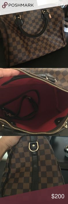 Made to look like LV The zipper can be a little iffy at times but it opens and closes just fine. It's made to look like a Louis Vuitton bag. Very well made. Has a shoulder strap to carry it long. Bags Satchels