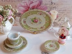 Myott Staffordshire Rose Green Teacup & Saucer for Dollhouse