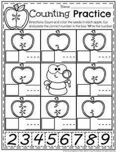 Apple Seed Counting Worksheets