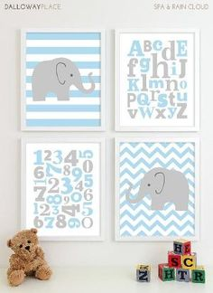Baby Boy Nursery Art Chevron Elephant Nursery Prints, Kids Wall Art Baby Boys Art, Baby Nursery Decor ABC Alphabet Art Numbers Art - 8x10 via Etsy by gabrielle