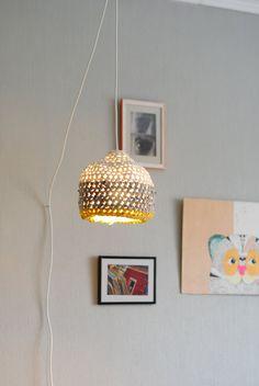 {crocheted pendant lamp}