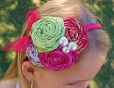 Hot Pink and Lime Green Satin Rosette
