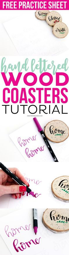 Creating these Hand Lettered Wood Coasters is SO easy with this tutorial. Includes free hand lettering practice sheet so you can copy these cute words! Hand Lettering Practice, Brush Lettering, Lettering Styles, Craft Tutorials, Design Tutorials, Craft Ideas, Decor Ideas, Creative Crafts, Fun Crafts