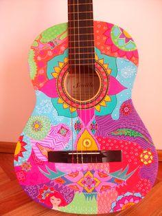 Ukulele Art, Guitar Art, Guitar Decorations, Broken Guitar, Bohemian Curtains, Play That Funky Music, Bright Art, Guitar Painting, Hippie Love