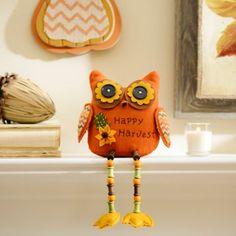 Orange Fall Feathers Owl Shelf Sitter at Kirklands #kirklands #kirklandsharvest