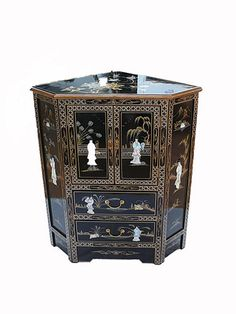 Black Lacquered Furniture With Mother Of Pearl Corner Cabinet oriental | eBay