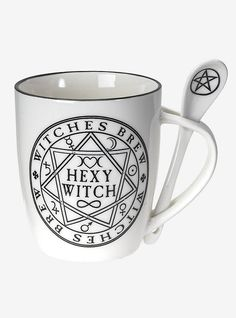 Slogan Design, Inked Shop, Ceramic Spoons, Witches Brew, China Mugs, Pentacle, The Conjuring, Mugs Set, Brewing