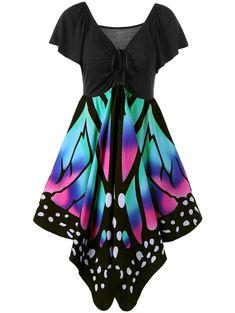 V Neck Butterfly Graphic Dress