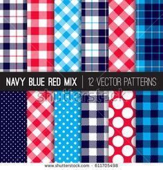 Patriotic Red, White, Blue Polka Dots, Gingham and Tartan Plaid Vector Patterns. July 4th Independence Day Backgrounds. Hipster Flannel Shirt or BBQ Tablecloth Textures. Pattern Tile Swatches Included