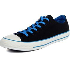 Converse Chuck Taylor All Star Two Tone Ox Canvas Shoes in Black/Blue,... ($50) ❤ liked on Polyvore featuring men's fashion, men's shoes, mens blue shoes, mens wide fit shoes, converse mens shoes, mens two tone shoes and g star mens shoes