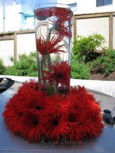 Spider gerbera daisy centerpiece