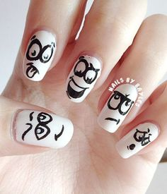 30 Super Kreative Black and White Nail Art Designs Nail Art Designs 2016, Black Nail Designs, Creative Nail Designs, Creative Nails, Black Dot Nails, Black And White Nail Art, White Nails, White Manicure, Black White