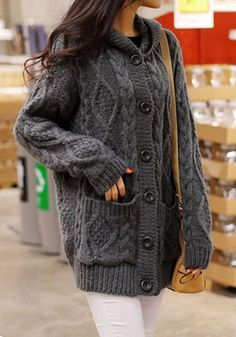 Ovesized Dark Grey Cardigan with hood