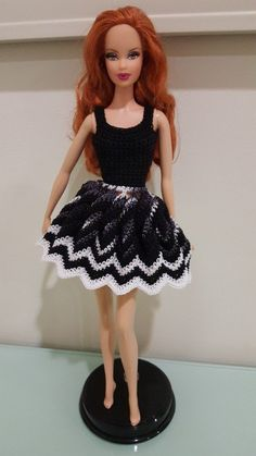 Barbie Twisted Chevron Dress with the skirt pulled open. free pattern