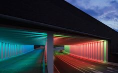 Immersive Light Installation in a Tunnel Jannes Linders unveils his photographs of colorful light installations of Dutch designer Herman Kuijer, established in a tunnel of the historical town of zutphen in the Netherlands, located at two different underpasses, linking a newly developed area with the traditional town center. For the designer, the challenge was to create a visual experience while ensuring users safety.