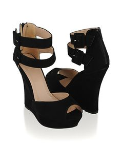 Double Ankle Strap Wedge Platforms