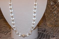 Clear Glass Beaded Necklace with Silver-Plated by AngeleDesignsLA