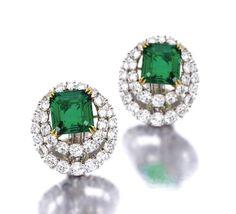 Van Cleef & Arpels Emerald, Diamond, Platinum and 18K Gold Earrings