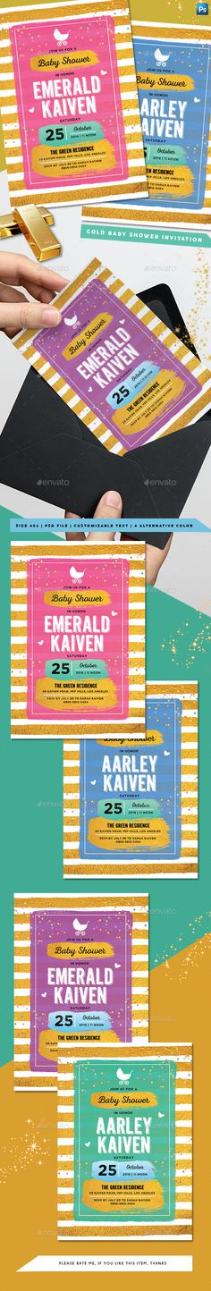 Buy Gold Baby Shower Invitation by arifpoernomo on GraphicRiver. Gold Baby Shower Invitation Template, for your baby shower invitation or baby announcement card. File features : 4 Al. Invitation Card Birthday, Anniversary Invitations, Invitation Card Design, Invitation Cards, Invites, Baby Announcement Cards, Gold Baby Showers, Baby Shower Invitation Templates, Free Fonts Download