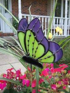 Purple and Lime Green Stained Glass Butterfly Garden Stake, Plant Stake, Garden Decoration, Tiffany Butterfly by GlassPizazz on Etsy