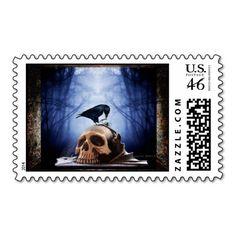 Raven Skull Halloween - Samhain Postage Stamp