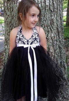 Black & White Damask Flower Girl Dress (white ribbon sash)