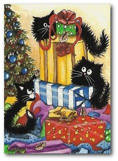 Black Cats Hamsters Lots of Pets & Presents Christmas - ArT BiHrLe LE Print ACEO