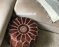Bohemia Marrakech pouf leather Original by BohemiaMarrakechCom Crochet Pouf, Knitted Pouf, Square Pouf, Square Ottoman, Leather Pouf Ottoman, Handmade Ottomans, Moroccan Pouf, Stitching Leather, Off Colour