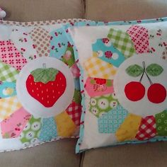 Had to make a couple sweetie pie pillows to match the cute hexie cushion cause why not?Love this fabric line!#@beelori1 #sweetiepiequilting #sewcherry2