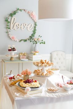Blush and Gold Bridal Shower: A must see bridal shower! - Don't miss this DIY blush and gold bridal shower! Blush Bridal Showers, Bridal Shower Tables, White Bridal Shower, Elegant Bridal Shower, Bridal Shower Foods, Gold Shower, Food Table Decorations, Tea Party Decorations, Bridal Shower Decorations