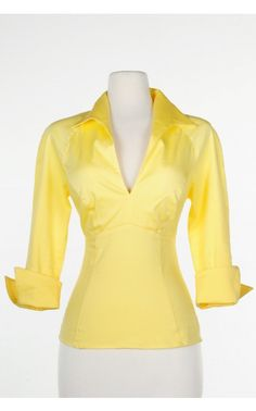 Pinup Couture- Lauren Top in Pastel Yellow | Pinup Girl Clothing