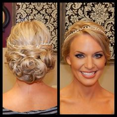 Formal makeup, soft shimmery eye with lashes, Formal updo, wedding hair, bun of curls, blonde color with highlights, Amber Heater, Gorgeous Salon, Salisbury, MD (410)677-4675