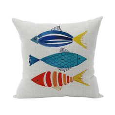 Vintage Colorful Fish Throw Pillow Cover