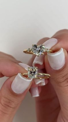 Which would you choose. Both 1 carat. Cute Engagement Rings, Heart Shaped Engagement Rings, Diamond Engagement Rings, Heart Shaped Diamond Ring, Diamond Rings, Emerald Rings, Ruby Rings, Diamond Pendant, Beautiful Wedding Rings